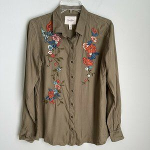 Jessica Simpson Green Pearl Embroidered Top